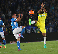 BOGOTA -COLOMBIA, 7-04-2017.Luis Carlos Ruiz player of Atletico Nacional  (R)  fights the ball against Maximiliano Nunez (L)  player of Millonarios . Action game between  Millonarios  and Atletico Nacional during match for the date 12 of the Aguila League I 2017 played at Nemesio Camacho El Campin stadium . Photo:VizzorImage / Felipe Caicedo  / Staff