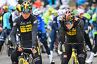 July 13th 2021, Saint-Gaudens, Haute-Garonne, France: VAN AERT Wout (BEL) of JUMBO-VISMA and KUSS Sepp (USA) of JUMBO-VISMA during stage 16 of the 108th edition of the 2021 Tour de France cycling race, a stage of 169 kms between El Pas de la Casa and Saint-Gaudens.