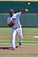 Jeff Antigua (34) of the Iowa Cubs  pitches against the New Orleans Zephyrs at Principal Park on April 23, 2015 in Des Moines, Iowa.  The Zephyrs won 9-2.  (Dennis Hubbard/Four Seam Images)