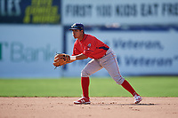 Williamsport Crosscutters second baseman Jesus Azuaje (4) during the second game of a doubleheader against the Batavia Muckdogs on August 20, 2017 at Dwyer Stadium in Batavia, New York.  Batavia defeated Williamsport 4-3.  (Mike Janes/Four Seam Images)