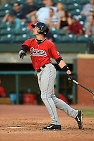 Birmingham Barons outfielder Trayce Thompson (21) during a game against the Chattanooga Lookouts on April 24, 2014 at AT&T Field in Chattanooga, Tennessee.  Chattanooga defeated Birmingham 5-4.  (Mike Janes/Four Seam Images)