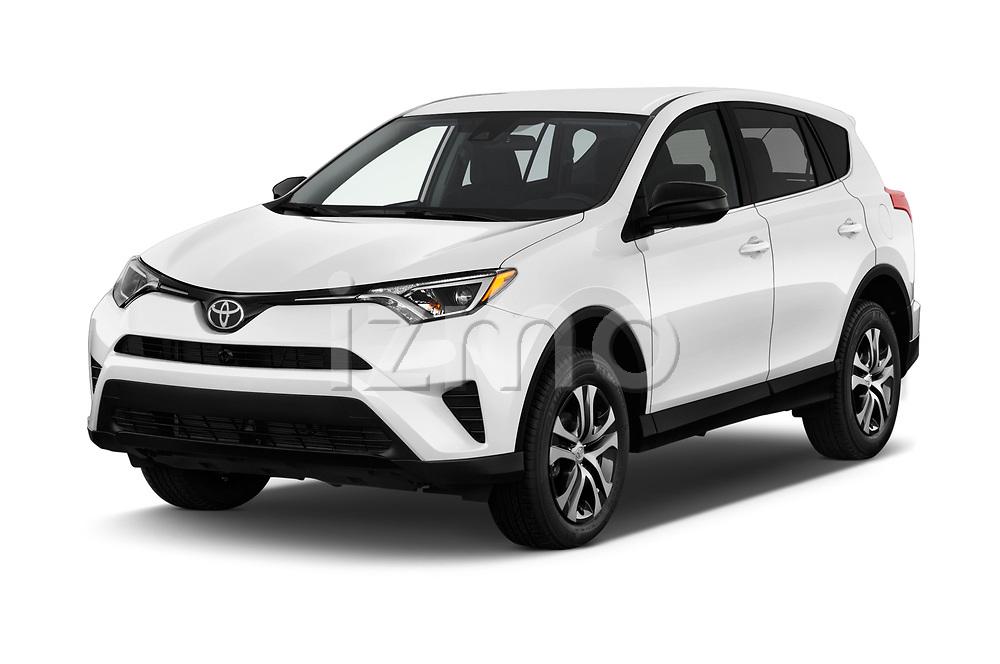 2018 Toyota RAV4 LE 5 Door SUV angular front stock photos of front three quarter view