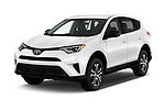 2018 Toyota RAV4 LE 5 Door SUV angular front stock photos of front three quarter view