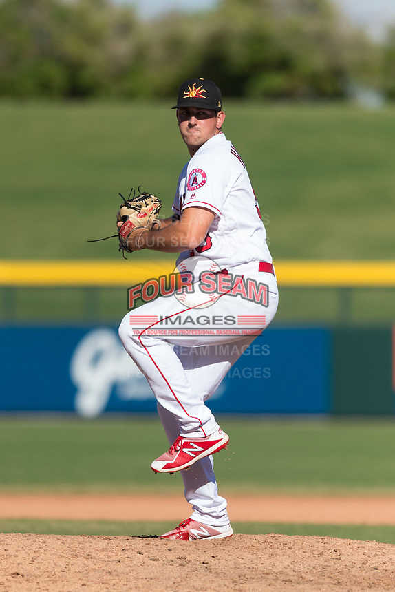 Mesa Solar Sox relief pitcher Brett Hanewich (53), of the Los Angeles Angels organization, delivers a pitch during an Arizona Fall League game against the Salt River Rafters at Sloan Park on October 30, 2018 in Mesa, Arizona. Salt River defeated Mesa 14-4 . (Zachary Lucy/Four Seam Images)