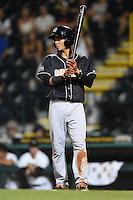 Jupiter Hammerheads outfielder Yefri Perez (12) at bat during a game against the Bradenton Marauders on April 18, 2015 at McKechnie Field in Bradenton, Florida.  Bradenton defeated Jupiter 4-1.  (Mike Janes/Four Seam Images)