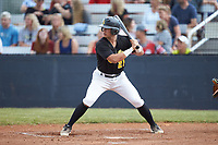 Grayson Chapman (21) (Wingate University) of the Statesville Owls at bat against the Mooresville Spinners at Moor Park on June 14, 2020 in Mooresville, NC.  The Owls defeated the Spinners 8-7 in 10 innings. (Brian Westerholt/Four Seam Images)