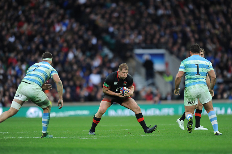 Dylan Hartley of England take a deep breath before taking on Marcos Kremer and Santiago Garcia Botta of Argentina during the Old Mutual Wealth Series match between England and Argentina at Twickenham Stadium on Saturday 11th November 2017 (Photo by Rob Munro/Stewart Communications)