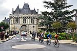 The breakaway featuring Evaldas Šiškevicius (LTU) Nippo Delko Provence, Elmar Reinders (NED) Riwal Securitas, Sergio Martín (ESP) Caja Rural-Seguros RGA, Petr Rikunov (RUS) Gazprom-RusVelo, Emiel Vermeulen (BEL) Natura4Ever-Roubaix Lille Métropole and Mikel Aristi (ESP)Euskaltel-Euskadi ride through Vendome during Paris-Tours 2020, running 213km from Chartres to Tours, France. 11th October 2020.<br /> Picture: ASO/Gautier Demouveaux | Cyclefile<br /> All photos usage must carry mandatory copyright credit (© Cyclefile | ASO/Gautier Demouveaux)