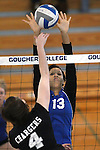 Marymount University's Jennifer Forbes goes up for a block in college volleyball action at Goucher College in Towson, MD, on Saturday, Oct. 8, 2011..Photo by Cathleen Aliison