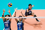Setter Miya Sato (R) of Japan in action during the FIVB Volleyball World Grand Prix - Hong Kong 2017 match between Japan and Russia on 23 July 2017, in Hong Kong, China. Photo by Yu Chun Christopher Wong / Power Sport Images
