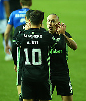 2nd February 2021; Rugby Park, Kilmarnock, East Ayrshire, Scotland; Scottish Premiership Football, Kilmarnock versus Celtic; Albian Ajeti of Celtic celebrates with Scott Brown of Celtic after he makes it 4-0 in the 86th minute
