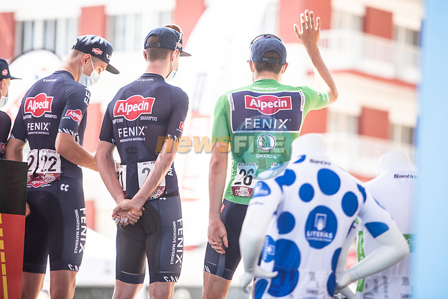 Alpecin Fenix at sign on before the start of Stage 7 of La Vuelta d'Espana 2021, running 152km from Gandia to Balcon de Alicante, Spain. 20th August 2021.     <br /> Picture: Unipublic/Charly Lopez   Cyclefile<br /> <br /> All photos usage must carry mandatory copyright credit (© Cyclefile   Charly Lopez/Unipublic)