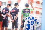 Alpecin Fenix at sign on before the start of Stage 7 of La Vuelta d'Espana 2021, running 152km from Gandia to Balcon de Alicante, Spain. 20th August 2021.     <br /> Picture: Unipublic/Charly Lopez | Cyclefile<br /> <br /> All photos usage must carry mandatory copyright credit (© Cyclefile | Charly Lopez/Unipublic)