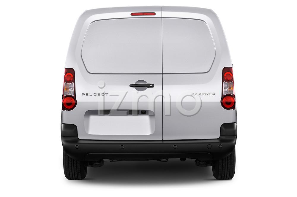 Straight rear view of 2015 Peugeot Partner - 4 Door Car Van Rear View  stock images