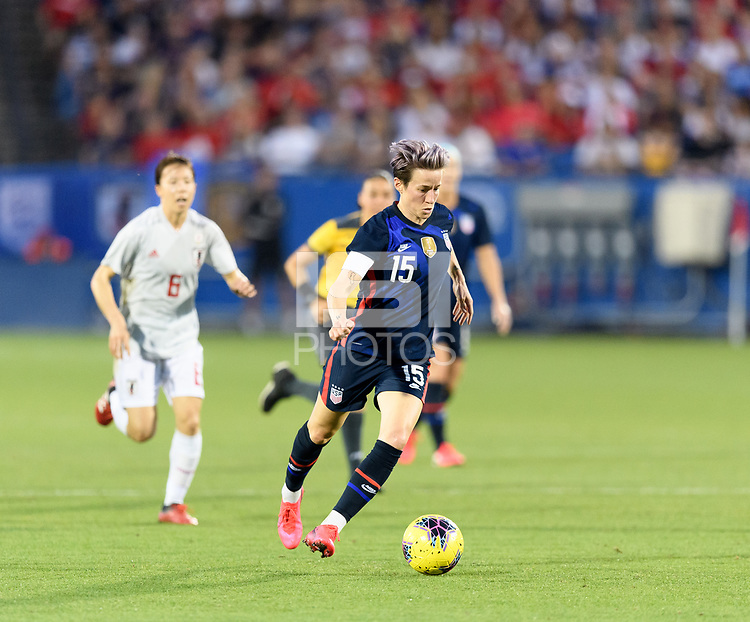 FRISCO, TX - MARCH 11: Megan Rapinoe #15 of the United States drives towards Japans goal in the first half during a game between Japan and USWNT at Toyota Stadium on March 11, 2020 in Frisco, Texas.