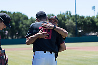 STANFORD, CA - MAY 29: Jacob Palisch, David Esquer before a game between Oregon State University and Stanford Baseball at Sunken Diamond on May 29, 2021 in Stanford, California.