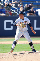 John Gavin (44) of the Cal State Fullerton Titans pitches against the Gonzaga Bulldogs at Goodwin Field on March 12, 2017 in Fullerton, California. Fullerton defeated Gonzaga, 3-2. (Larry Goren/Four Seam Images)