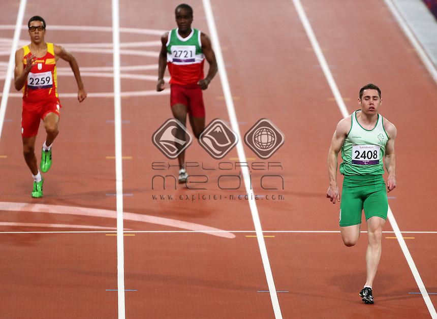 Jason Smyth, (IRL), Men's 100m - T13.<br /> Athletics, Olympic Stadium, Olympic Park (Friday 31st Aug)<br /> Paralympics - Summer / London 2012<br /> London England 29 Aug - 9 Sept <br /> © Sport the library/Joseph Johnson