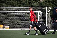 TUKWILA, WA - NOVEMBER 08: Drew Moor #3 of Toronto FC carries an equipment bag to training at Starfire Sports Complex on November 08, 2019 in Tukwila, Washington.