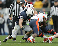 State College, PA - 11/02/2013:  PSU LB Mike Hull (43) tackles Illinois RB Josh Ferguson.  Hull led all defenders with 13 total tackles.  Penn State defeated Illinois by a score of 24-17 in overtime on Saturday, November 2, 2013, at Beaver Stadium.<br /> <br /> Photos by Joe Rokita / JoeRokita.com