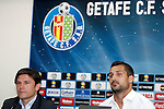 Getafe's general manager Toni Munoz new player Miguel Angel Moya during his official presentation. June 15, 2011. (ALTERPHOTOS/Alvaro Hernandez)