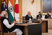 United States President Joe Biden hosts a Quad Leaders Summit with Prime Minister Narendra Modi of India, left, Prime Minister Scott Morrison of Australia, and Prime Minister Suga Yoshihide of Japan (both not pictured) in the East Room of the White House in Washington, DC on Friday, September 24, 2021. <br /> Credit: Sarahbeth Maney / Pool via CNP /MediaPunch