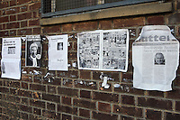 Newspaper cuttings are seen on the wall  of the dressing room block at East Marsh, Hackney Marshes, which is scheduled for demolition in early May 2010 - 18/04/10 - MANDATORY CREDIT: Gavin Ellis/TGSPHOTO - Self billing applies where appropriate - Tel: 0845 094 6026