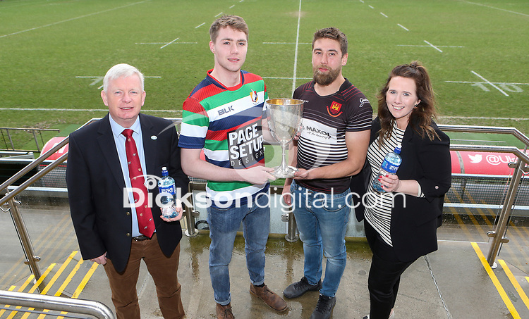 Monday 24th February 2020 | Deep River Rock Ulster Towns Cup Semi-Final Draw<br /> <br /> Pictured at the Deep River Rock Ulster Towns Cup Semi-Final draw are Ulster Branch Senior Vice President Philip Gregg, Ballyclare RFC captain Josh Young, Carrick RFC captain Johnny Sherriff and Hillary Hughes representing the sponsors Deep River Rock at Kingspan Stadium today. Photo by John Dickson / DICKSONDIGITAL