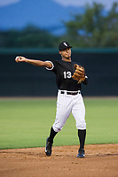 AZL White Sox shortstop Lenyn Sosa (13) on defense against the AZL Athletics on July 20, 2017 at Camelback Ranch in Glendale, Arizona. AZL Athletics defeated the AZL White Sox 5-2. (Zachary Lucy/Four Seam Images)