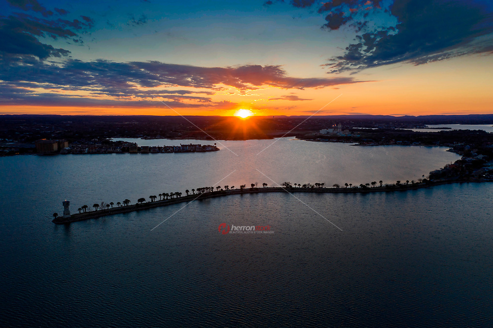 Aerial sunset image of Lake LBJ in Horseshoe Bay, named after President Lyndon B. Johnson, is part of the Highland Lakes chain of seven lakes starting in Austin and going northwest for over 85 miles.