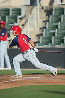 Max Schrock (2) of the Hagerstown Suns follows through on his swing against the Kannapolis Intimidators at Kannapolis Intimidators Stadium on May 6, 2016 in Kannapolis, North Carolina.  The Intimidators defeated the Suns 5-3.  (Brian Westerholt/Four Seam Images)