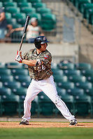 Arkansas Travelers third baseman Seth Mejias-Brean (28) at bat during a game against the Frisco RoughRiders on May 28, 2017 at Dickey-Stephens Park in Little Rock, Arkansas.  Arkansas defeated Frisco 17-3.  (Mike Janes/Four Seam Images)