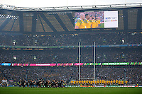 The Wallabies face up to the Haka before the Rugby World Cup Final between New Zealand and Australia - 31/10/2015 - Twickenham Stadium, London<br /> Mandatory Credit: Rob Munro/Stewart Communications