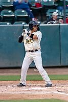 Visalia Rawhide shortstop Jancarlos Cintron (3) during a California League game against the Rancho Cucamonga Quakes on April 8, 2019 in Visalia, California. Rancho Cucamonga defeated Visalia 4-1. (Zachary Lucy/Four Seam Images)