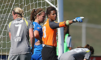 Philadelphia Independence goalkeeper, Karina Leblanc (23) organizes her defense on a corner.  The Boston Breakers scored two goals in the second half to pull out a 2-1 victory over the Philadelphia Independence at John A Farrell Stadium in West Chester, PA.