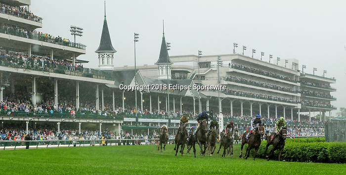 LOUISVILLE, KY - MAY 05: Maraud #10, ridden by John Velazquez, wins the American Turf on Kentucky Derby Day at Churchill Downs on May 5, 2018 in Louisville, Kentucky. (Photo by Mary Meeks/Eclipse Sportswire/Getty Images)