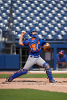 GCL Mets catcher Robby Kidwell (80) throws to second base during the first game of a doubleheader against the GCL Nationals on July 22, 2017 at The Ballpark of the Palm Beaches in Palm Beach, Florida.  GCL Mets defeated the GCL Nationals 1-0 in a seven inning game that originally started on July 17th.  (Mike Janes/Four Seam Images)