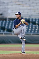 AZL Padres 2 starting pitcher Ramon Perez (16) delivers a pitch to the plate against the AZL Giants on July 13, 2017 at Scottsdale Stadium in Scottsdale, Arizona. AZL Giants defeated the AZL Padres 2 11-3. (Zachary Lucy/Four Seam Images)
