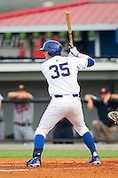 Cameron Gallagher (35) of the Burlington Royals at bat against the Danville Braves at Burlington Athletic Park on July 18, 2012 in Burlington, North Carolina.  The Royals defeated the Braves 4-3 in 11 innings.  (Brian Westerholt/Four Seam Images)