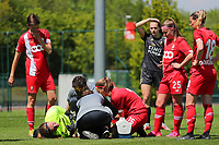 Standard's medical staff attends to goalkeeper Lise Musique (1) of Standard after her clash with Hannah Eurlings (9) of OHL  during a female soccer game between Standard Femina de Liege and Oud Heverlee Leuven on the 10th and last matchday in play off 1 of the 2020 - 2021 season of Belgian Scooore Womens Super League , saturday 29 th of May 2021  in Angleur , Belgium . PHOTO SPORTPIX.BE   SPP   SEVIL OKTEM