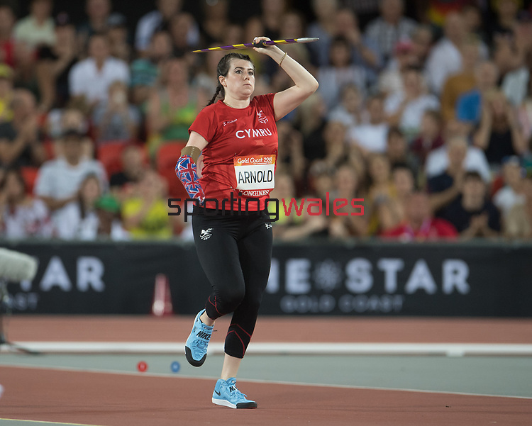 Wales Hollie Arnold (para) competes in the Womans F46 Javelin Throw<br /> <br /> *This image must be credited to Ian Cook Sportingwales and can only be used in conjunction with this event only*<br /> <br /> 21st Commonwealth Games  -  Day 5 - 09\04\2018 - Carrara Stadium - Gold Coast City - Australia