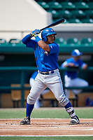 Toronto Blue Jays catcher Yorman Rodriguez (50) at bat during an Instructional League game against the Detroit Tigers on October 12, 2017 at Joker Marchant Stadium in Lakeland, Florida.  (Mike Janes/Four Seam Images)