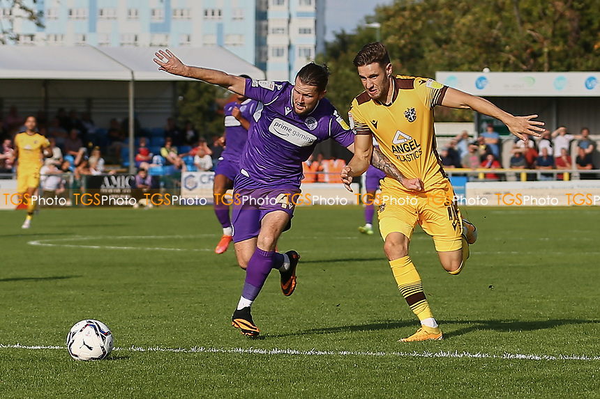 Jake Reeves of Stevenage and Will Randall of Sutton United during Sutton United vs Stevenage, Sky Bet EFL League 2 Football at the VBS Community Stadium on 11th September 2021