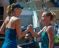 Paris, France, 29 May, 2018, Tennis, French Open, Roland Garros, Richel Hogenkamp (NED) congratulates Maria Sharapova (RUS) (L)<br /> Photo: Henk Koster/tennisimages.com