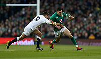 Saturday 2nd February 2019 | Ireland vs England<br /> <br /> Jacob Stockdale is tackled by Henry Slade during the opening Guinness 6 Nations clash between Ireland and England at the Aviva Stadium, Lansdowne Road, Dublin, Ireland.  Photo by John Dickson / DICKSONDIGITAL