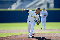 Michigan Wolverines pitcher Isaiah Paige (25) delivers a pitch to the plate during the NCAA baseball game against the Illinois Fighting Illini on March 20, 2021 at Fisher Stadium in Ann Arbor, Michigan. Michigan won the game 8-1. (Andrew Woolley/Four Seam Images)