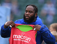 25th September 2021; The Recreation Ground, Bath, Somerset, England; Gallagher Premiership Rugby, Bath versus Newcastle Falcons; Beno Obano of Bath warms up