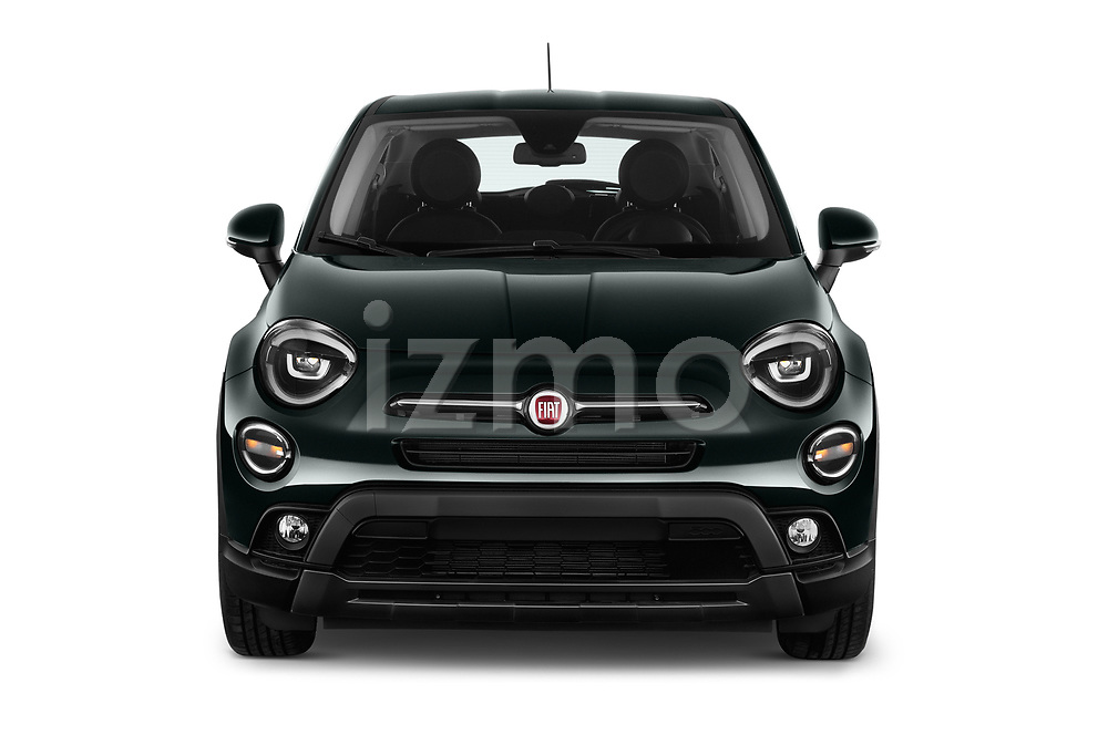 Car photography straight front view of a 2019 Fiat 500-X Cross 5 Door SUV Front View