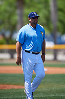 Tampa Bay Rays coach Jeff Smith during a Minor League Spring Training game against the Boston Red Sox on March 25, 2019 at the Charlotte County Sports Complex in Port Charlotte, Florida.  (Mike Janes/Four Seam Images)