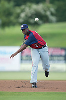 Hagerstown Suns starting pitcher McKenzie Mills (27) delivers a pitch to the plate against the Kannapolis Intimidators at Kannapolis Intimidators Stadium on July 10, 2017 in Kannapolis, North Carolina.  The Suns defeated the Intimidators 8-5.  (Brian Westerholt/Four Seam Images)